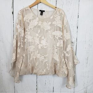 Alfani XL cream sheer w/ camisole and bell sleeves